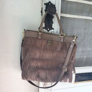 Tory Burch Large Suede Fringe Crossbody Tote Bag